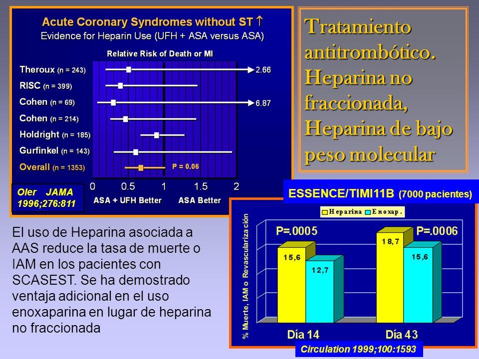 Oler JAMA 1996;276:811 Tratamiento antitrombótico. Heparina no fraccionada, Heparina de bajo peso molecular Circulation 1999;100:1593 ESSENCE/TIMI11B