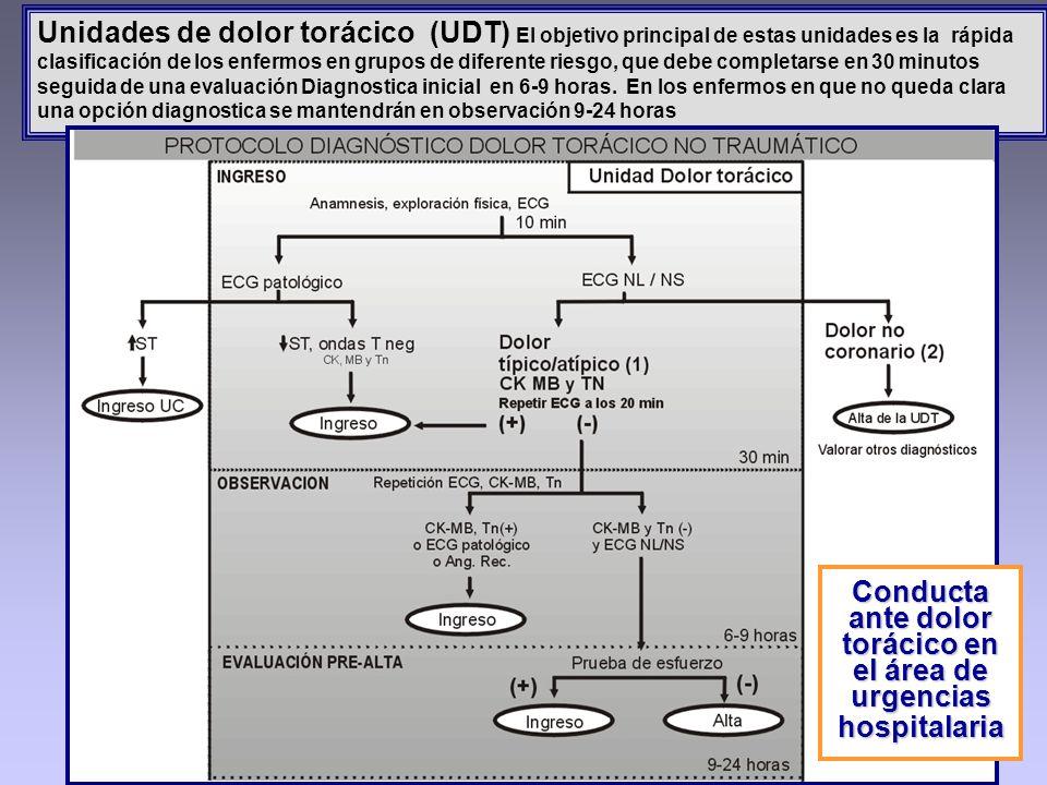 Unidades de dolor torácico (UDT) El objetivo principal de estas unidades es la rápida clasificación de los enfermos en grupos de diferente riesgo, que