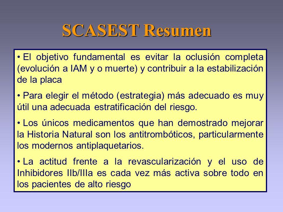 SCASEST Resumen El objetivo fundamental es evitar la oclusión completa (evolución a IAM y o muerte) y contribuir a la estabilización de la placa Para