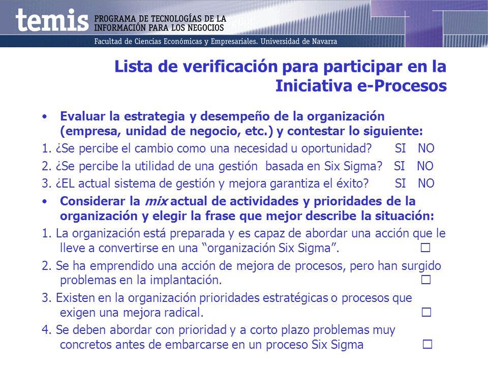 Lista de verificación para participar en la Iniciativa e-Procesos Evaluar la estrategia y desempeño de la organización (empresa, unidad de negocio, et