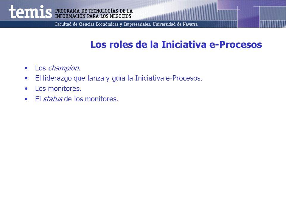 Los roles de la Iniciativa e-Procesos Los champion. El liderazgo que lanza y guía la Iniciativa e-Procesos. Los monitores. El status de los monitores.