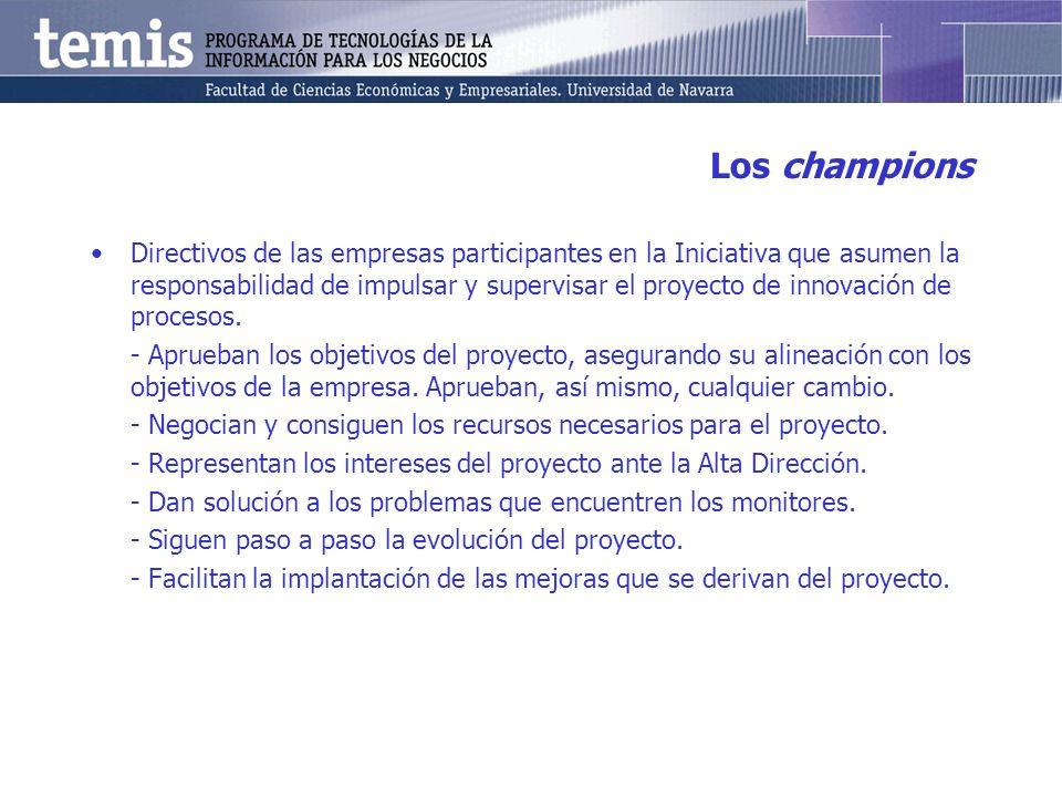 Los champions Directivos de las empresas participantes en la Iniciativa que asumen la responsabilidad de impulsar y supervisar el proyecto de innovaci