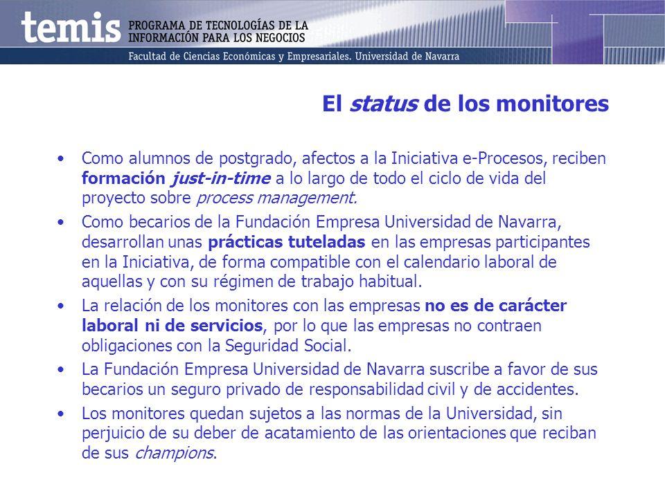 El status de los monitores Como alumnos de postgrado, afectos a la Iniciativa e-Procesos, reciben formación just-in-time a lo largo de todo el ciclo de vida del proyecto sobre process management.