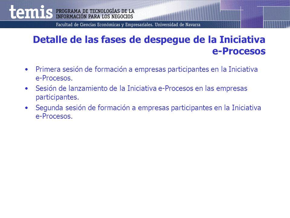 Detalle de las fases de despegue de la Iniciativa e-Procesos Primera sesión de formación a empresas participantes en la Iniciativa e-Procesos.