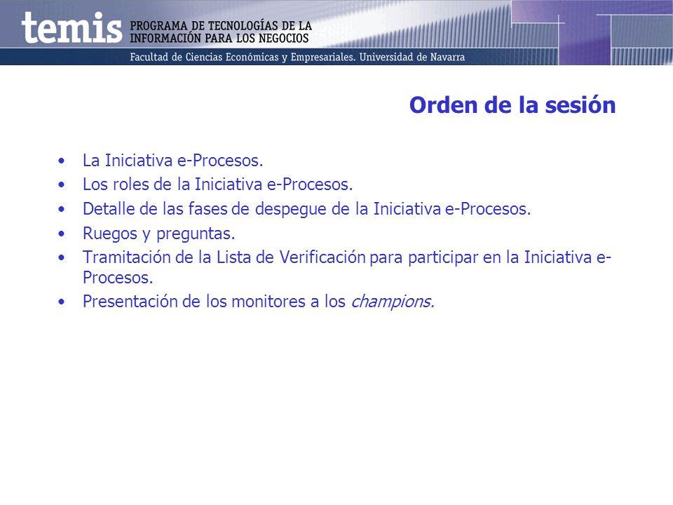 Orden de la sesión La Iniciativa e-Procesos. Los roles de la Iniciativa e-Procesos. Detalle de las fases de despegue de la Iniciativa e-Procesos. Rueg