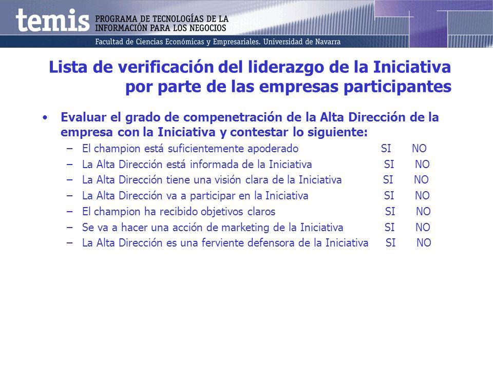 Lista de verificación del liderazgo de la Iniciativa por parte de las empresas participantes Evaluar el grado de compenetración de la Alta Dirección d