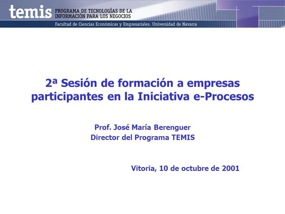 2ª Sesión de formación a empresas participantes en la Iniciativa e-Procesos Prof. José María Berenguer Director del Programa TEMIS Vitoria, 10 de octu