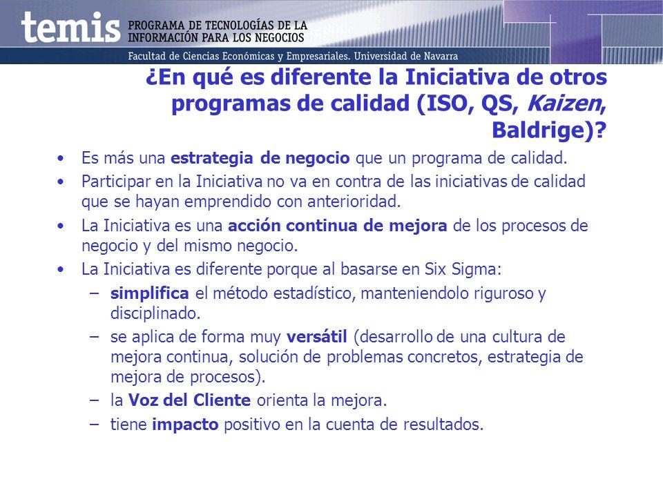 ¿En qué es diferente la Iniciativa de otros programas de calidad (ISO, QS, Kaizen, Baldrige)? Es más una estrategia de negocio que un programa de cali