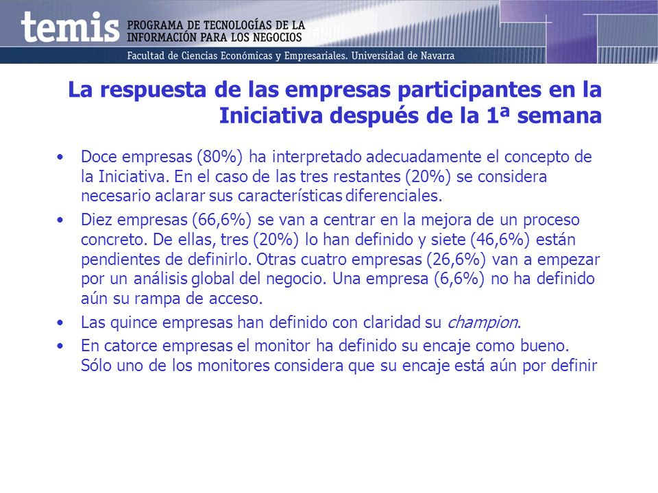 La respuesta de las empresas participantes en la Iniciativa después de la 1ª semana Doce empresas (80%) ha interpretado adecuadamente el concepto de la Iniciativa.