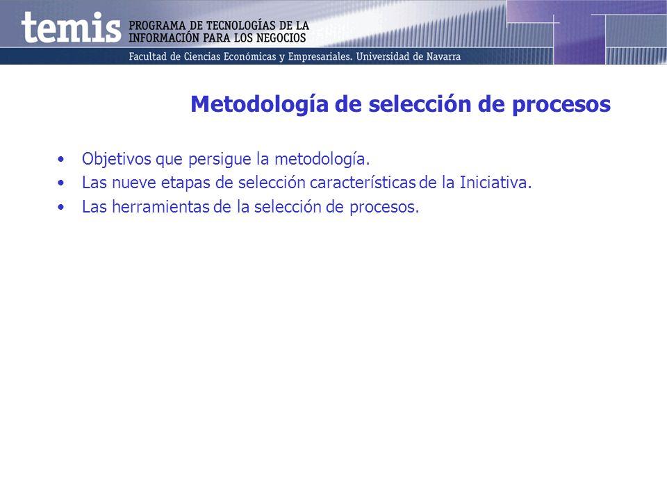 Metodología de selección de procesos Objetivos que persigue la metodología. Las nueve etapas de selección características de la Iniciativa. Las herram