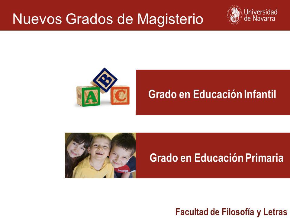 Facultad de Filosofía y Letras Grado en Educación Infantil Grado en Educación Primaria Nuevos Grados de Magisterio