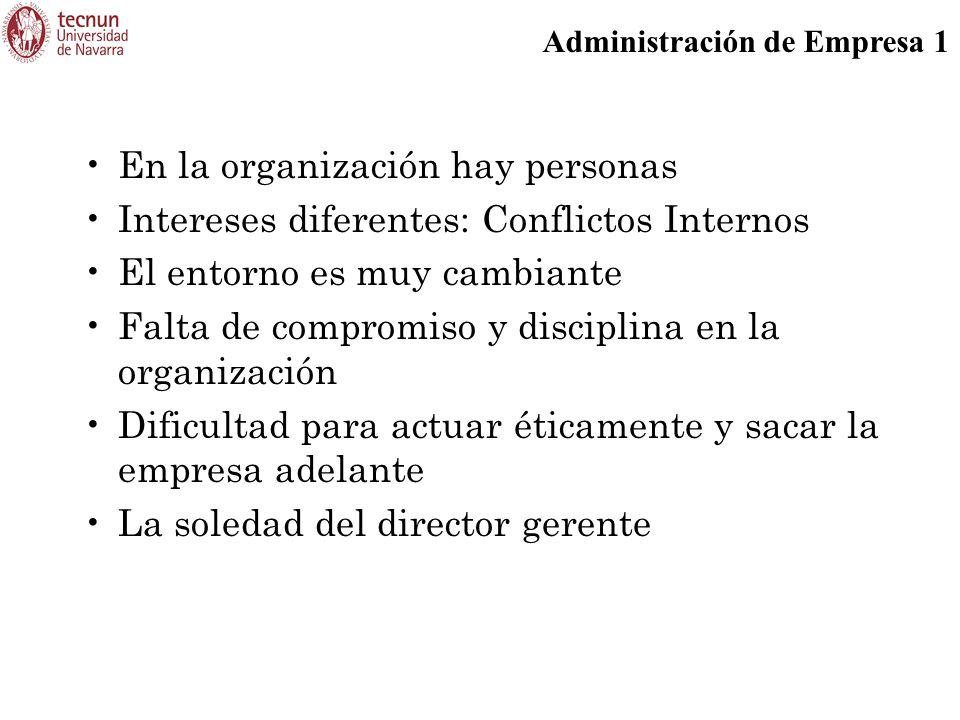 Administración de Empresa 1 En la organización hay personas Intereses diferentes: Conflictos Internos El entorno es muy cambiante Falta de compromiso