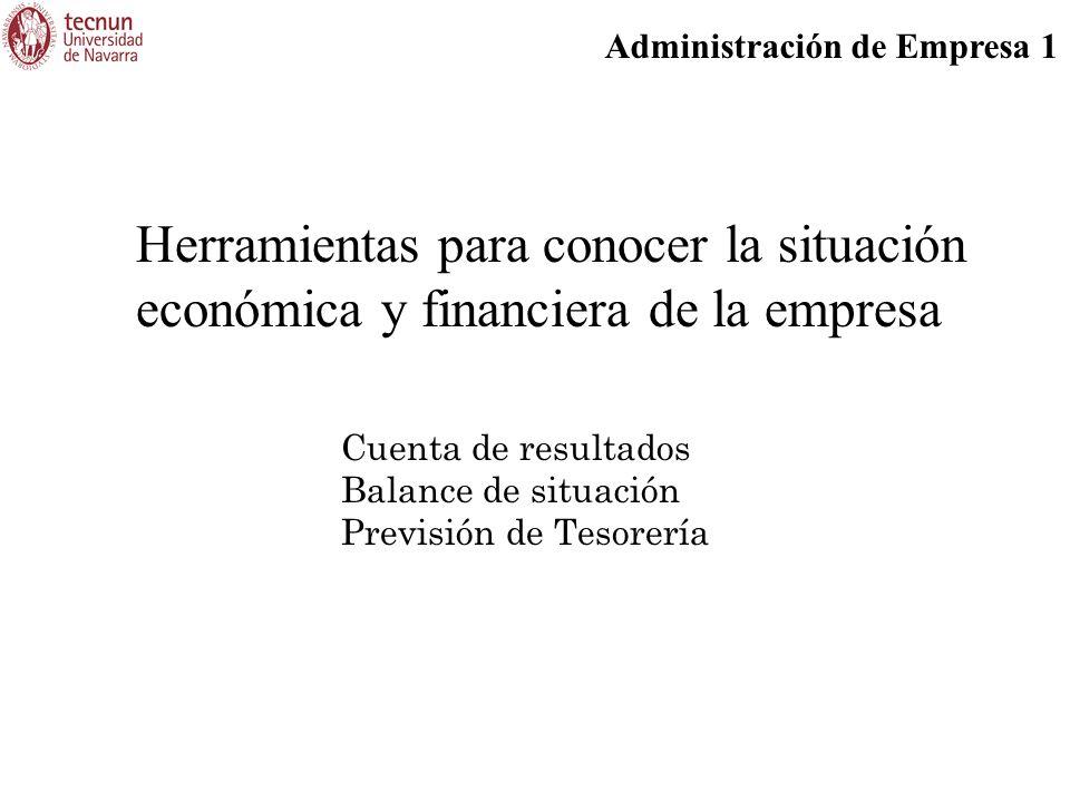 Administración de Empresa 1 Herramientas para conocer la situación económica y financiera de la empresa Cuenta de resultados Balance de situación Previsión de Tesorería