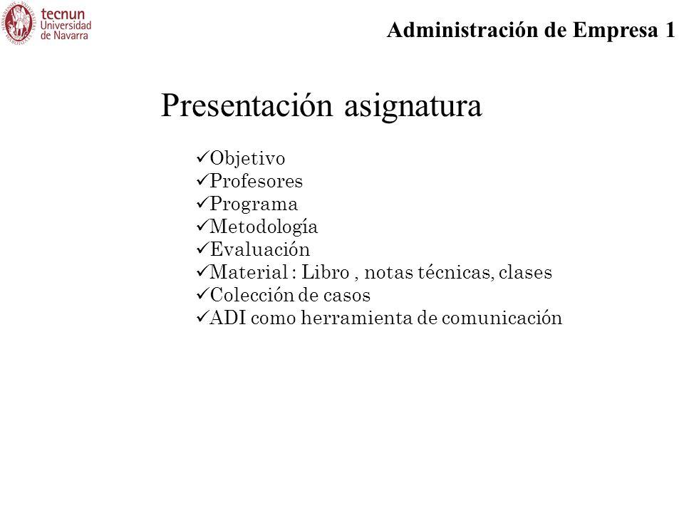 Administración de Empresa 1 Presentación asignatura Objetivo Profesores Programa Metodología Evaluación Material : Libro, notas técnicas, clases Colección de casos ADI como herramienta de comunicación