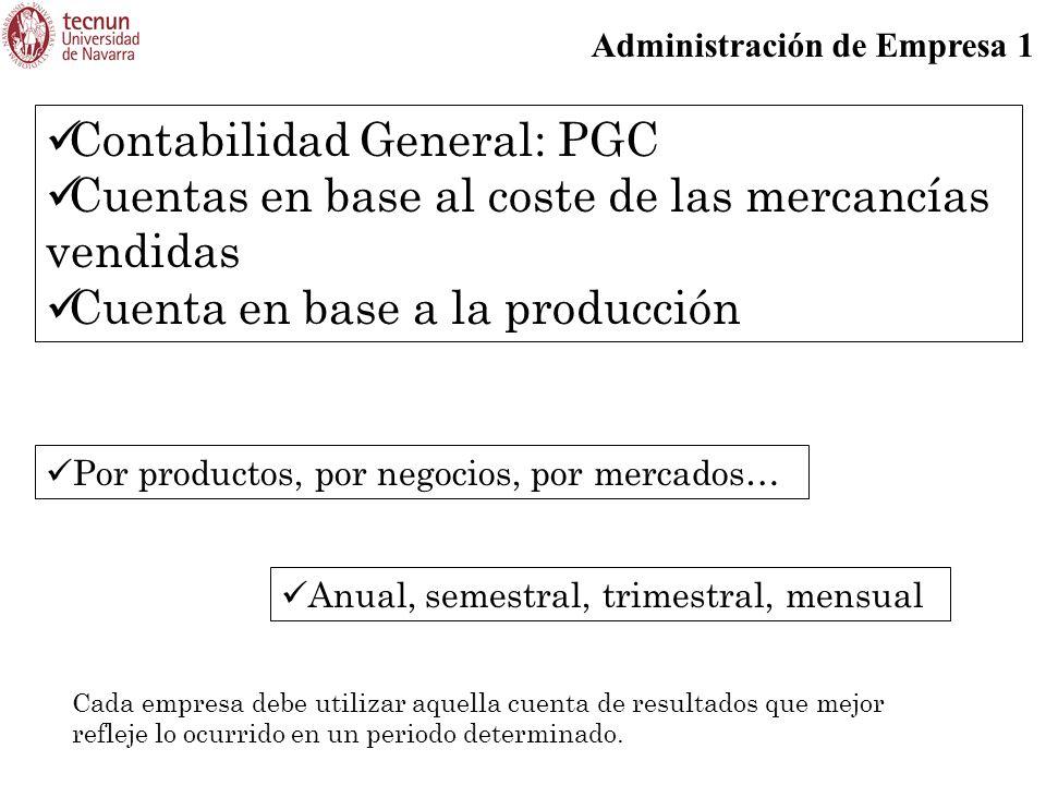 Administración de Empresa 1 Contabilidad General: PGC Cuentas en base al coste de las mercancías vendidas Cuenta en base a la producción Por productos