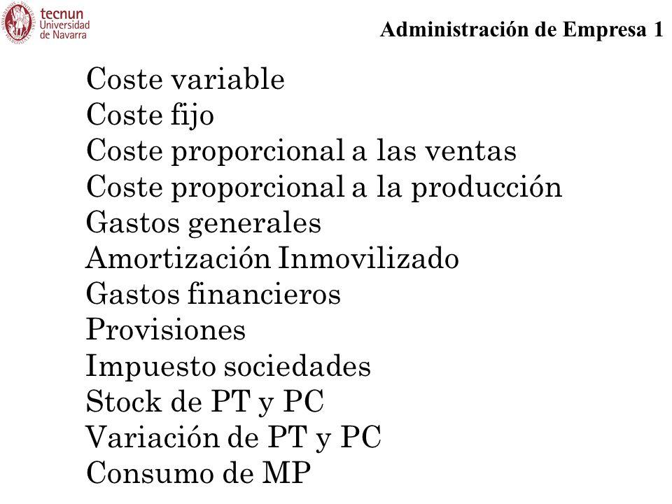 Administración de Empresa 1 Coste variable Coste fijo Coste proporcional a las ventas Coste proporcional a la producción Gastos generales Amortización Inmovilizado Gastos financieros Provisiones Impuesto sociedades Stock de PT y PC Variación de PT y PC Consumo de MP