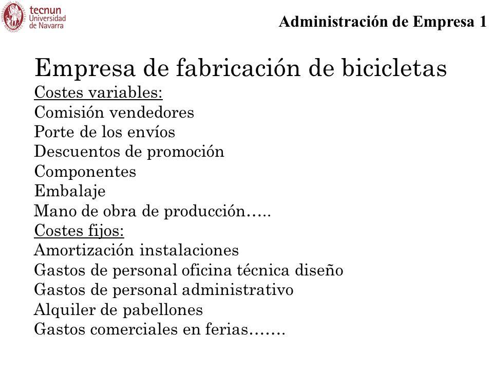 Administración de Empresa 1 Empresa de fabricación de bicicletas Costes variables: Comisión vendedores Porte de los envíos Descuentos de promoción Componentes Embalaje Mano de obra de producción…..