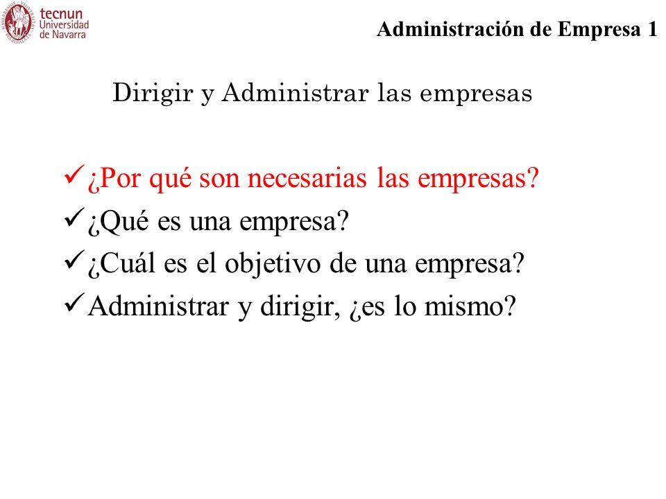 Administración de Empresa 1 ¿Por qué son necesarias las empresas? ¿Qué es una empresa? ¿Cuál es el objetivo de una empresa? Administrar y dirigir, ¿es