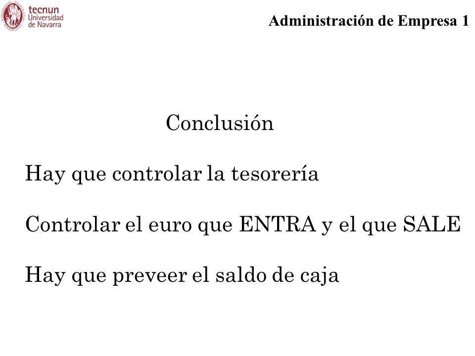Administración de Empresa 1 Conclusión Hay que controlar la tesorería Controlar el euro que ENTRA y el que SALE Hay que preveer el saldo de caja