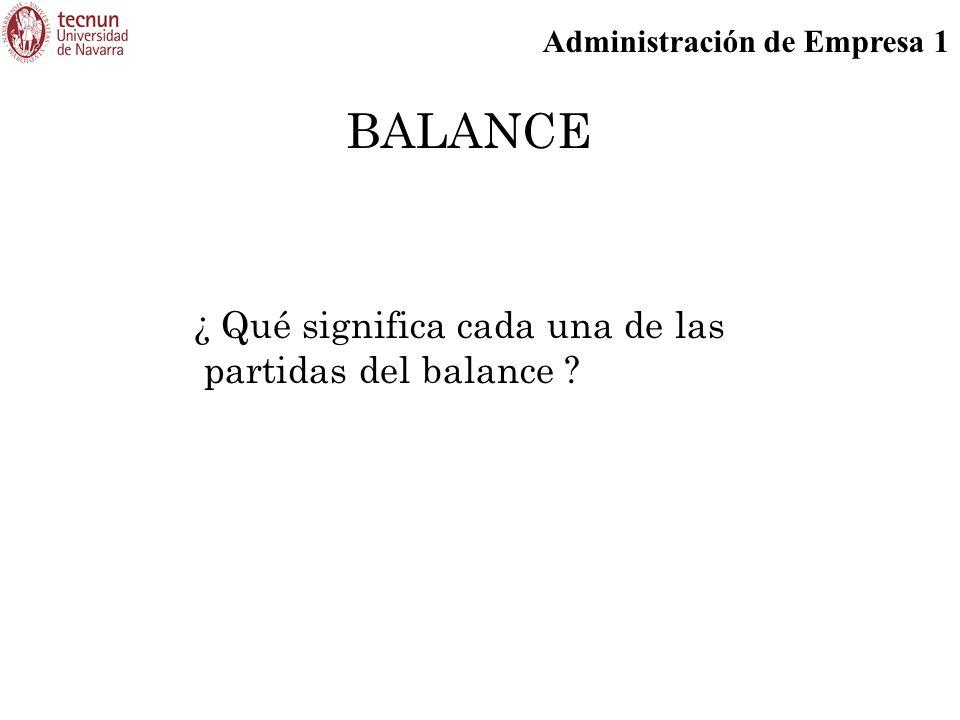 Administración de Empresa 1 BALANCE ¿ Qué significa cada una de las partidas del balance ?
