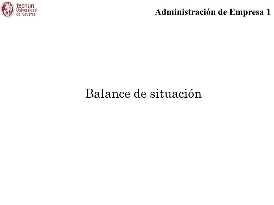 Administración de Empresa 1 Balance de situación