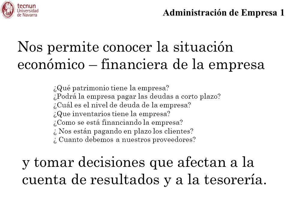 Administración de Empresa 1 Nos permite conocer la situación económico – financiera de la empresa ¿Qué patrimonio tiene la empresa? ¿Podrá la empresa