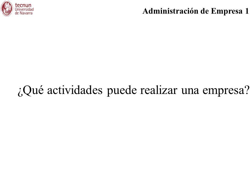 Administración de Empresa 1 ¿Qué actividades puede realizar una empresa?