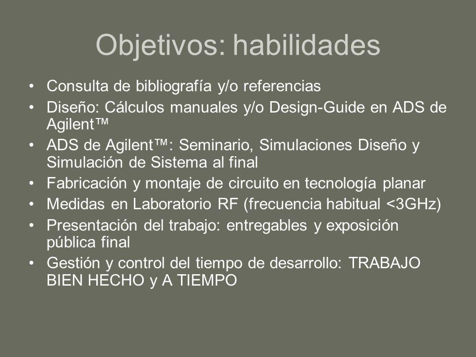 Objetivos: habilidades Consulta de bibliografía y/o referencias Diseño: Cálculos manuales y/o Design-Guide en ADS de Agilent ADS de Agilent: Seminario