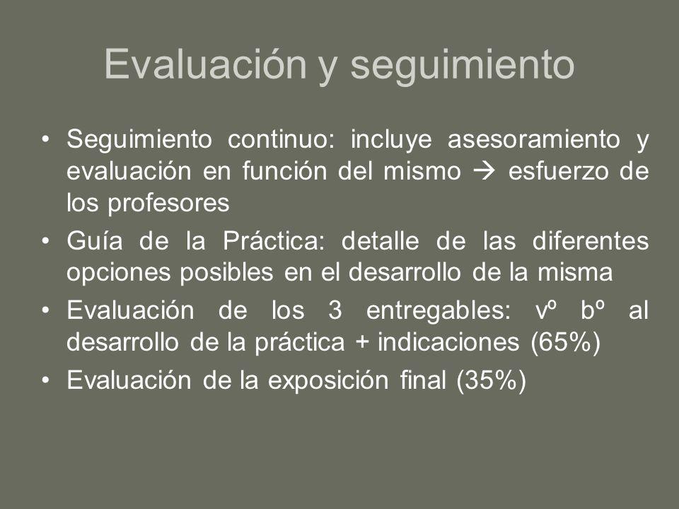 Evaluación y seguimiento Seguimiento continuo: incluye asesoramiento y evaluación en función del mismo esfuerzo de los profesores Guía de la Práctica: detalle de las diferentes opciones posibles en el desarrollo de la misma Evaluación de los 3 entregables: vº bº al desarrollo de la práctica + indicaciones (65%) Evaluación de la exposición final (35%)