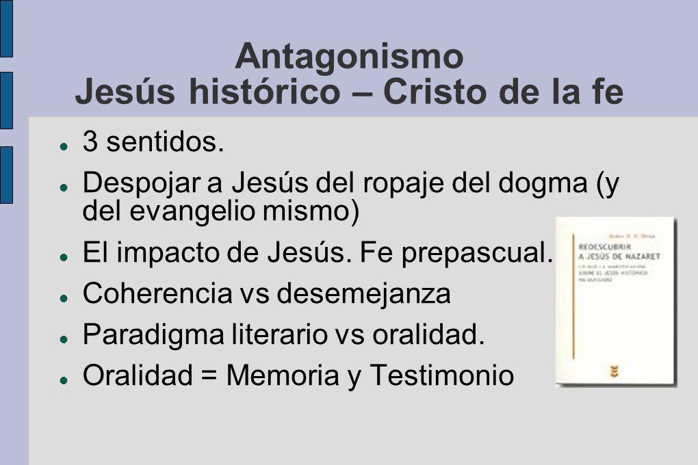 Antagonismo Jesús histórico – Cristo de la fe 3 sentidos. Despojar a Jesús del ropaje del dogma (y del evangelio mismo) El impacto de Jesús. Fe prepas