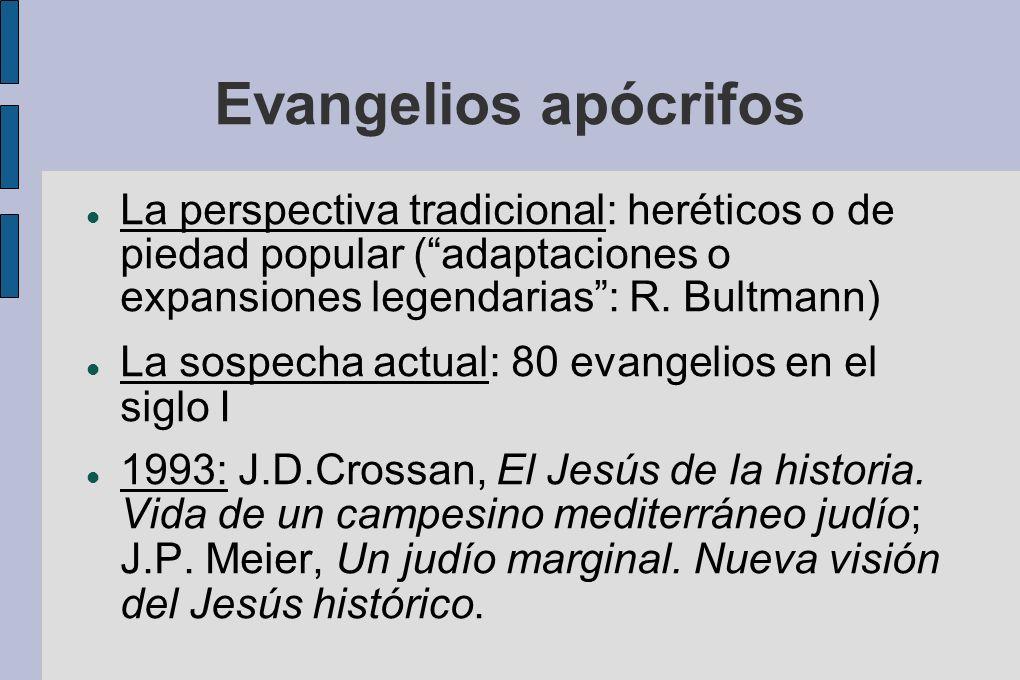 Evangelios apócrifos La perspectiva tradicional: heréticos o de piedad popular (adaptaciones o expansiones legendarias: R. Bultmann) La sospecha actua