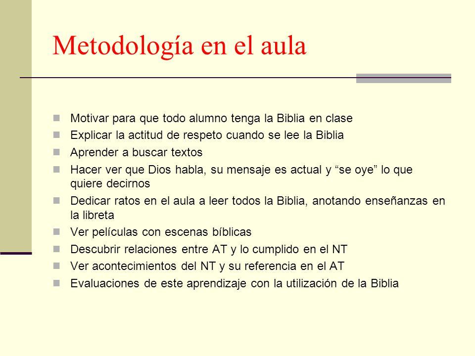 Metodología en el aula Motivar para que todo alumno tenga la Biblia en clase Explicar la actitud de respeto cuando se lee la Biblia Aprender a buscar