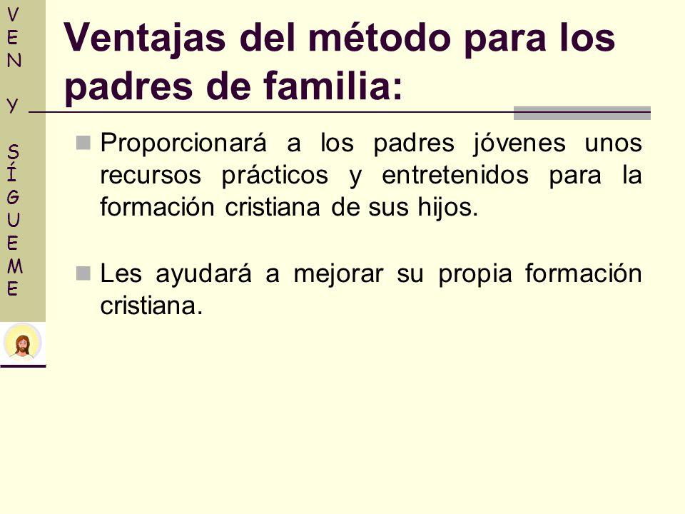 Proporcionará a los padres jóvenes unos recursos prácticos y entretenidos para la formación cristiana de sus hijos. Les ayudará a mejorar su propia fo