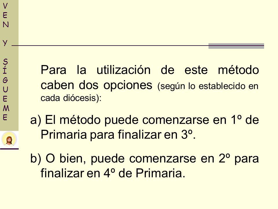 VENY SÍGUEMEVENY SÍGUEME Para la utilización de este método caben dos opciones (según lo establecido en cada diócesis): a) El método puede comenzarse