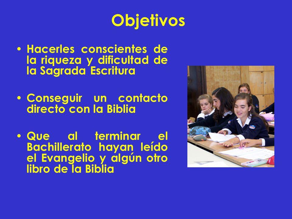 Objetivos Hacerles conscientes de la riqueza y dificultad de la Sagrada Escritura Conseguir un contacto directo con la Biblia Que al terminar el Bachi