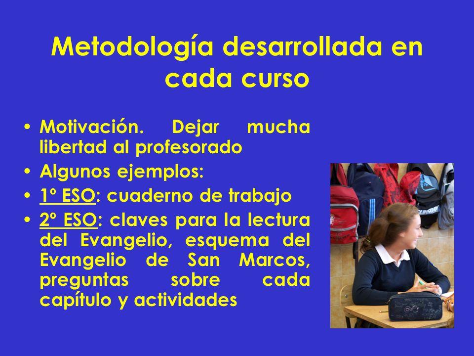 Metodología desarrollada en cada curso Motivación. Dejar mucha libertad al profesorado Algunos ejemplos: 1º ESO: cuaderno de trabajo 2º ESO: claves pa