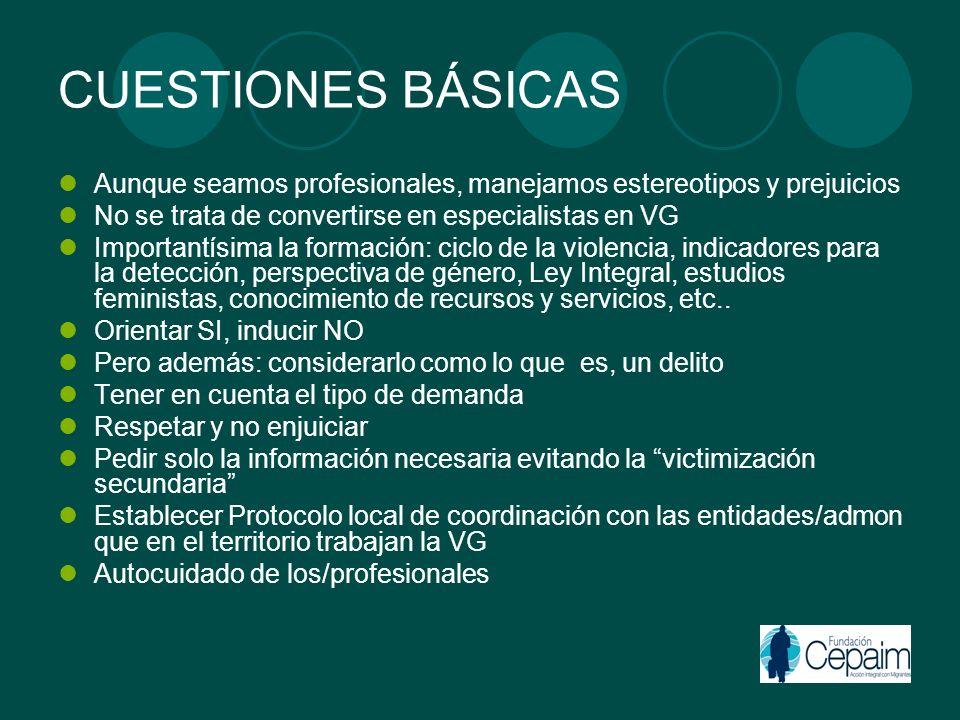 CUESTIONES BÁSICAS Aunque seamos profesionales, manejamos estereotipos y prejuicios No se trata de convertirse en especialistas en VG Importantísima l