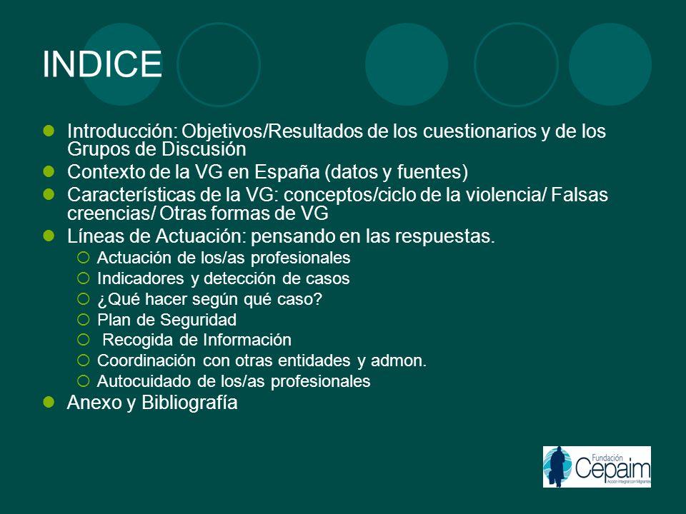 INDICE Introducción: Objetivos/Resultados de los cuestionarios y de los Grupos de Discusión Contexto de la VG en España (datos y fuentes) Característi