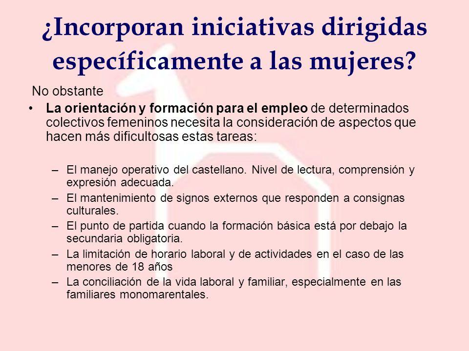 No obstante La orientación y formación para el empleo de determinados colectivos femeninos necesita la consideración de aspectos que hacen más dificultosas estas tareas: –El manejo operativo del castellano.