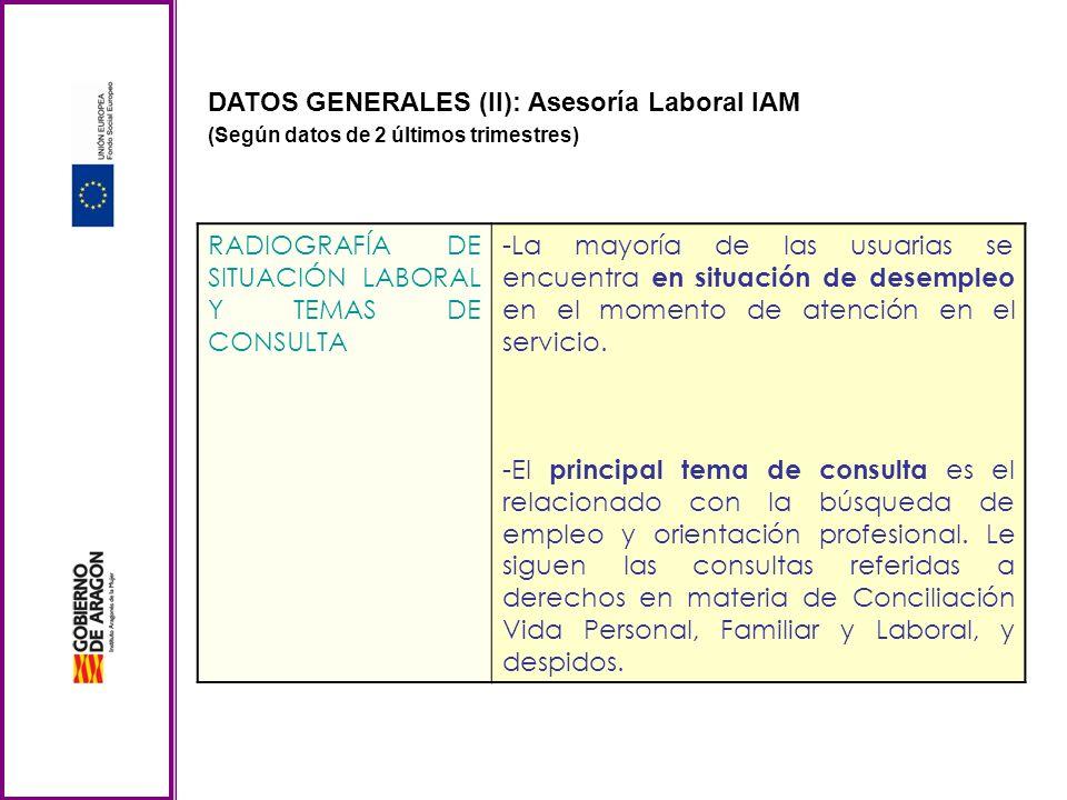 DATOS GENERALES (II): Asesoría Laboral IAM (Según datos de 2 últimos trimestres) RADIOGRAFÍA DE SITUACIÓN LABORAL Y TEMAS DE CONSULTA -La mayoría de l