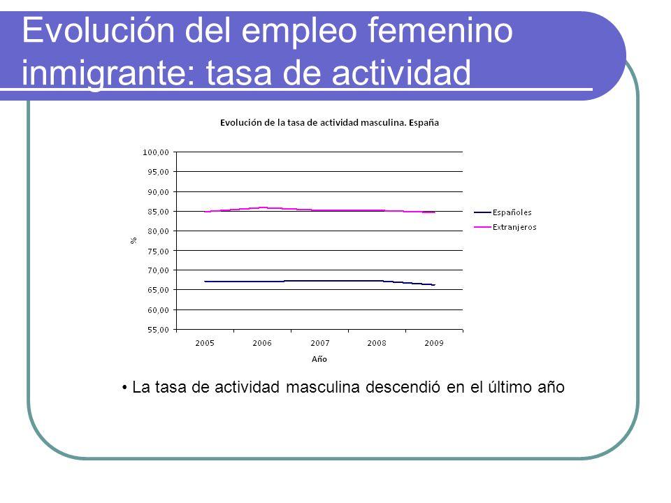 Evolución del empleo femenino inmigrante: tasa de actividad La tasa de actividad masculina descendió en el último año