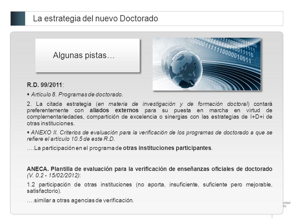 La estrategia del nuevo Doctorado R.D.99/2011: Artículo 8.