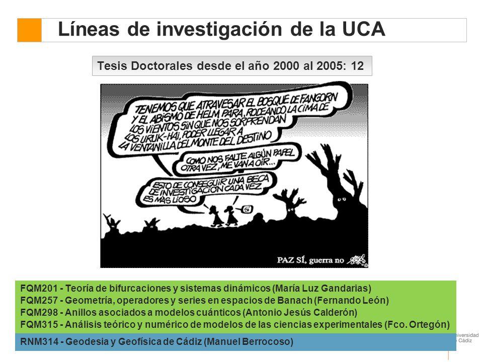Líneas de investigación de la UCA Tesis Doctorales desde el año 2000 al 2005: 12 FQM201 - Teoría de bifurcaciones y sistemas dinámicos (María Luz Gand