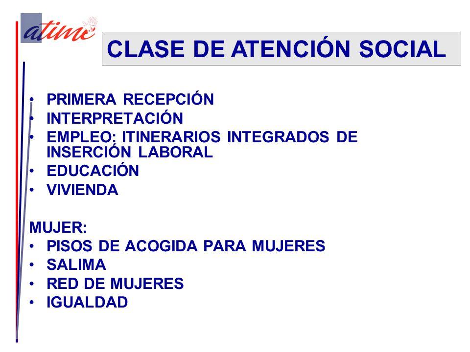 PRIMERA RECEPCIÓN INTERPRETACIÓN EMPLEO: ITINERARIOS INTEGRADOS DE INSERCIÓN LABORAL EDUCACIÓN VIVIENDA MUJER: PISOS DE ACOGIDA PARA MUJERES SALIMA RED DE MUJERES IGUALDAD CLASE DE ATENCIÓN SOCIAL
