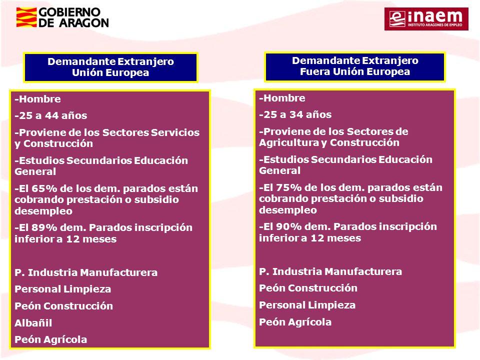 Demandante Extranjero Unión Europea -Hombre -25 a 44 años -Proviene de los Sectores Servicios y Construcción -Estudios Secundarios Educación General -