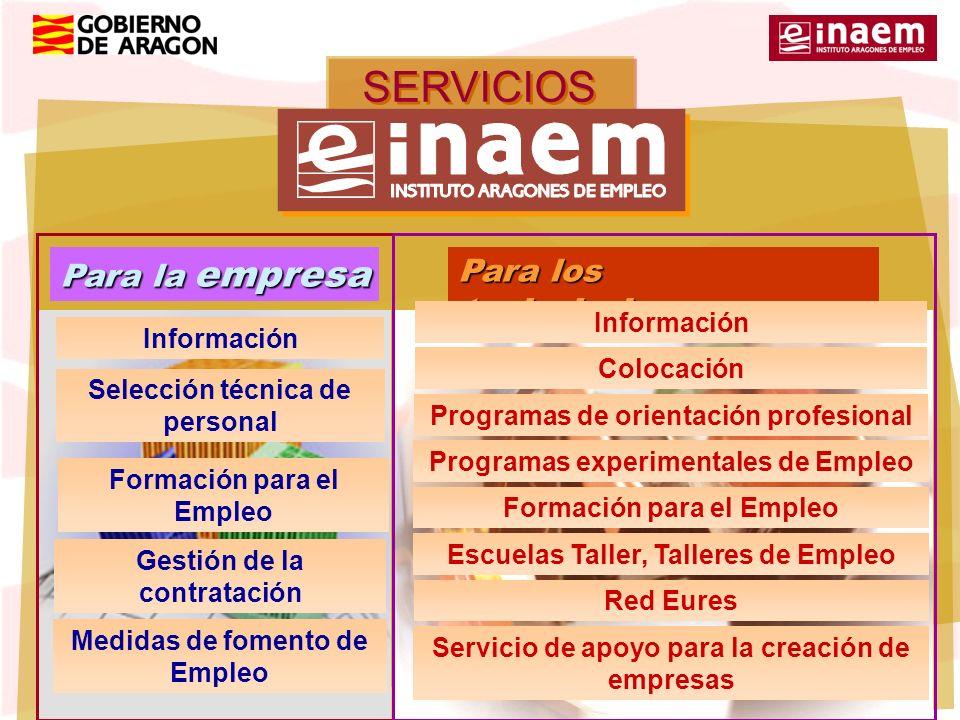 SERVICIOS del Para la empresa Para los trabajadores Información Colocación Programas de orientación profesional Programas experimentales de Empleo For