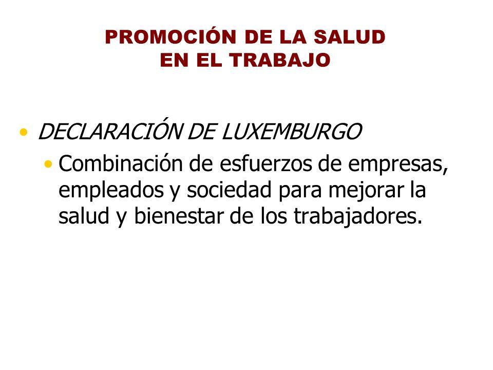 DECLARACIÓN DE LUXEMBURGO Combinación de esfuerzos de empresas, empleados y sociedad para mejorar la salud y bienestar de los trabajadores. PROMOCIÓN