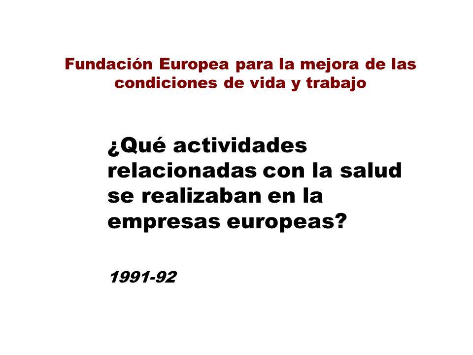 Fundación Europea para la mejora de las condiciones de vida y trabajo ¿Qué actividades relacionadas con la salud se realizaban en la empresas europeas