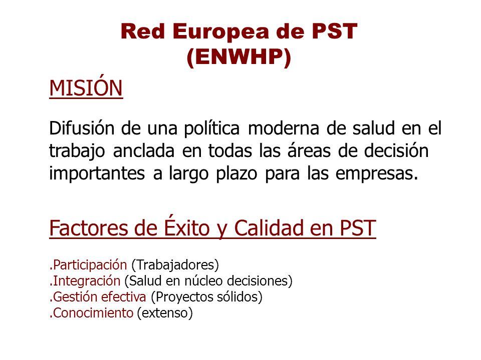 Red Europea de PST (ENWHP) MISIÓN Difusión de una política moderna de salud en el trabajo anclada en todas las áreas de decisión importantes a largo p