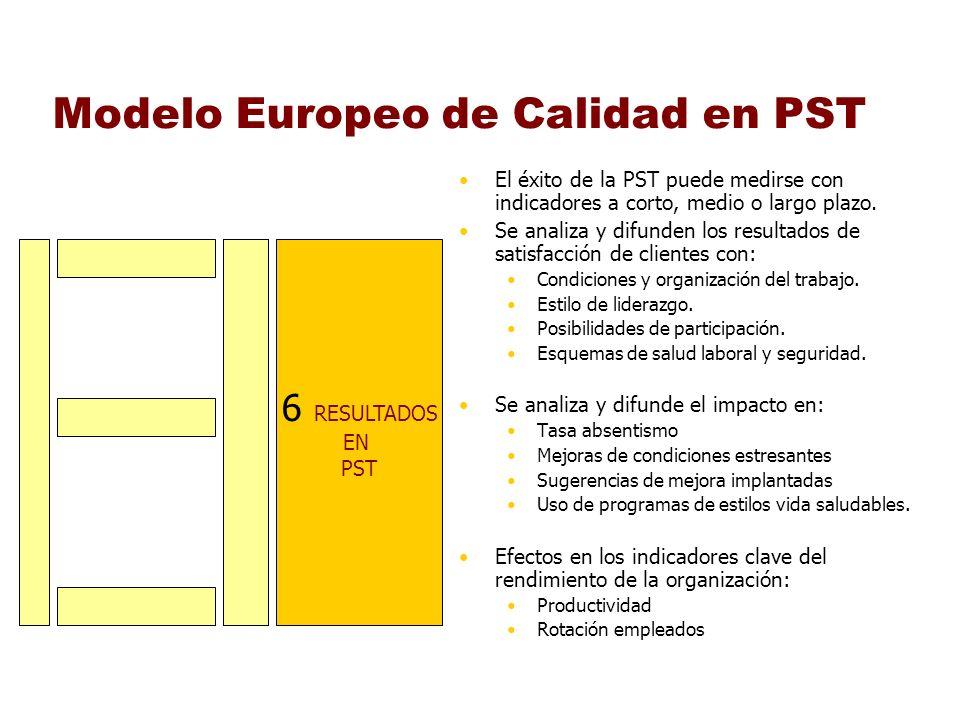 Modelo Europeo de Calidad en PST El éxito de la PST puede medirse con indicadores a corto, medio o largo plazo. Se analiza y difunden los resultados d